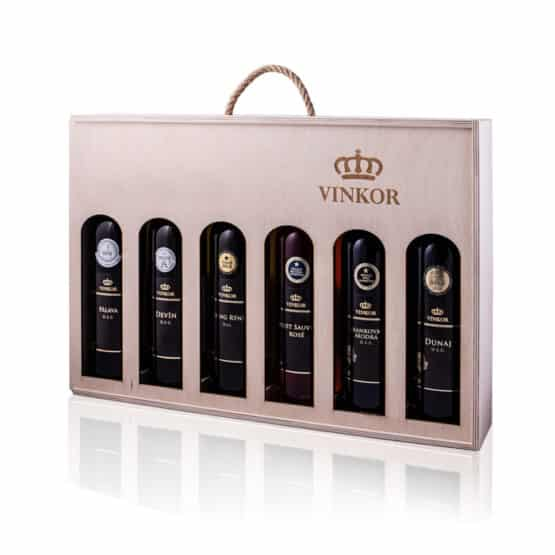 Anticorona mix set - Darčeková drevená kazeta s logom vinárstva Vinkor obsahujúca 6 vín (z toho 1 ružové, 2 červené) - vinkor.sk
