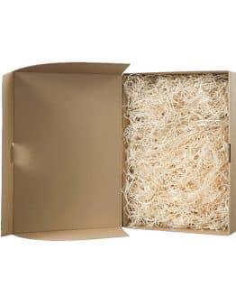 Darčeková krabica Natural vyplnená drevitou vlnou na 2 fľaše vína - vinárstvo Vinkor Malé Karpaty