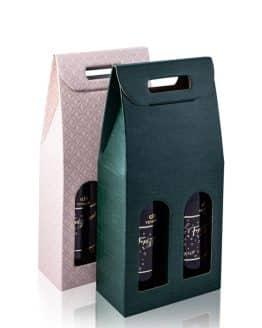 Kartónový obal na 2 fľaše vína v zelenej a ružovej farbe pre dámy - vinárstvo Vinkor Malé Karpaty