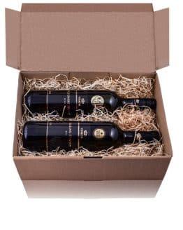 Stará dobrá klasika - Darčeková krabica ´Natural´ vyplnená drevitou vlnou obsahuje 2 biele vína - Veltlínske zelené 2020 a Rizling Rýnsky 2019