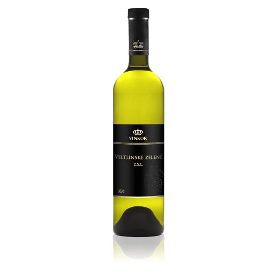 Biele víno Veltlínske zelené 2020 z vinarstva Vinkor, Malokarpatská vinohradnícka oblasť, Vinosady, hon – Hauspereg